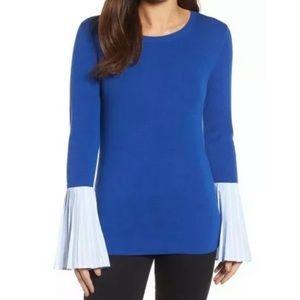 Halogen Poplin Knit Striped Cuff Sweater XL